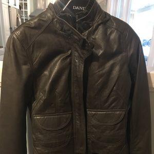 DANIER Leather Jacket 2XS. Like New. Forest Green